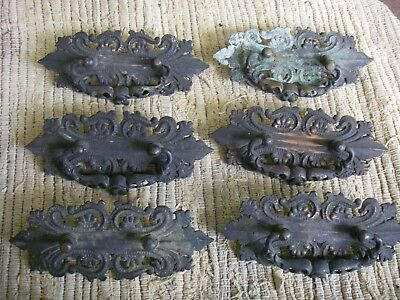 Monster Gothic Set Of 6 Cast Brass Drawer Pulls Victorian Antique Hardware