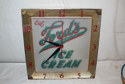 """Vintage 1950's Ford's Ice Cream Soda Pop Gas Oil 16"""" Lighted Clock Sign~Works"""