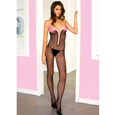 Size Regular 2 Tone Seamless Fishnet Lace Up Front Bodystocking Lingerie ML1432