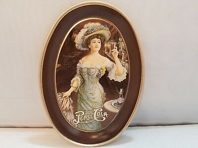 Vintage Pepsi Cola Advertising  Oval Tin Tray with Gorgeous Gibson Girl! 6 inch