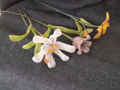 Vintage French Glass Beaded Flowers Victorian Millinery Hand Wrapped Wire Stems