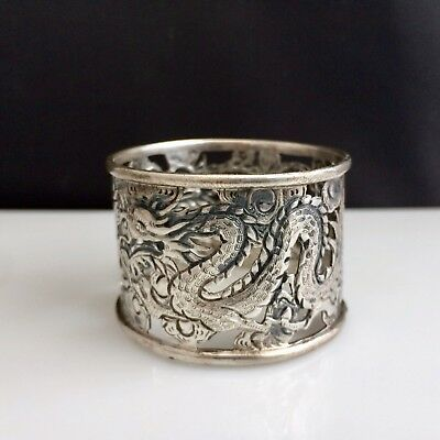 Anitque Sterling Silver Napkin Ring Holder Dragon Theme Chinese Export