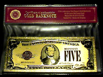 .999 Fine 24K $5 Gold Foil Plated Five Dollar Bill US BANKNOTE with COA - WR