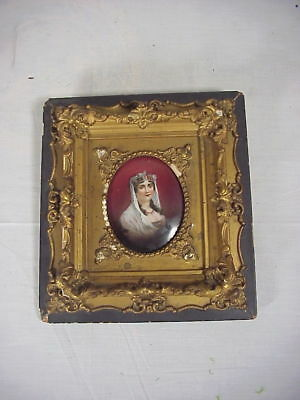 Antique Hand Painted Porcelain Plaque Of Queen Louise In Fancy Frame