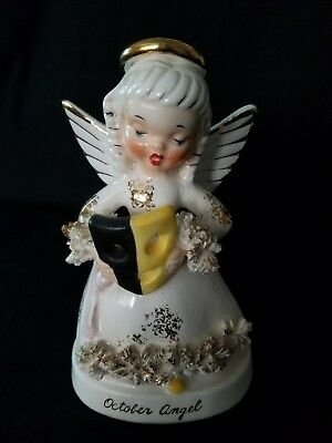 Vintage Napco October Birthday Angel with Halloween Mask Spaghetti Trim A1370