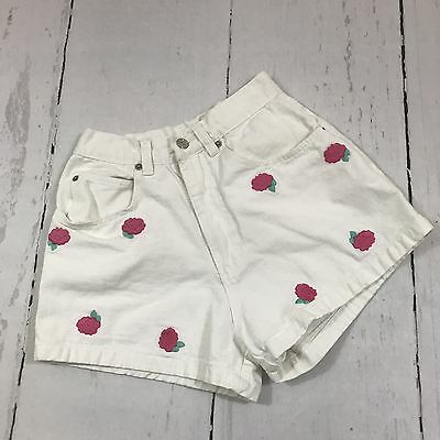 Vtg Trade Secret White Floral Embroidered High Waist Mom Jean Shorts Size 5 B5