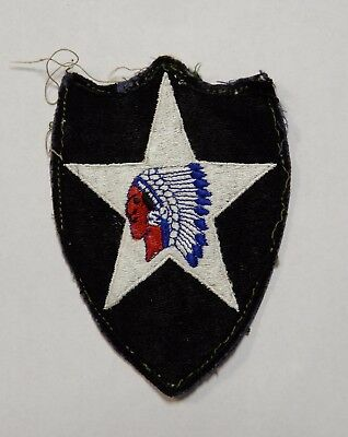 Vintage WWII US Army 2nd Infantry Division Patch Military Indian Head