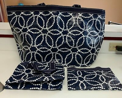 Mixed Bag Designs Navy Circle Dots 3 pc Set Weekender zip Pouch Cosmetic Travel