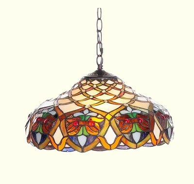 STAINED GLASS CEILING LIGHT Hanging Lamp Tiffany-Style Fixture Home Decor Office
