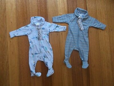 BRAND NEW WITH TAGS! Bonds Newborn Baby Zip Coveralls x2 (Size 0000) RRP$55.90