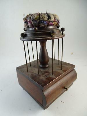 Antique Victorian Sewing Notion Pin Cushion Wood Box Needle 1800s Vtg Seamstress