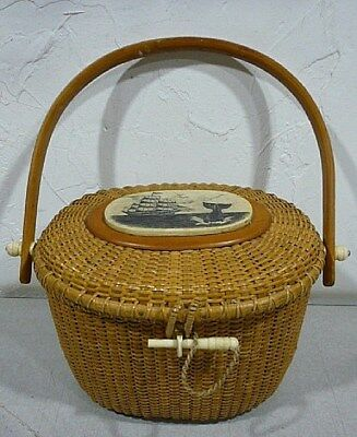 Vintage Nantucket Lightship Basket Purse with signed scrimshaw whaling scene.
