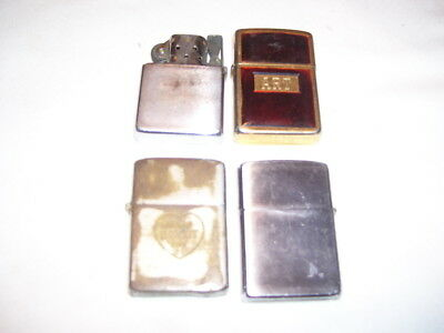 Lot of 4 Vintage Zippo Cigarette Lighters 1 with Advertising