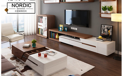 High Gloss &Wooden Grain Extendable Stylish TV Unit and Multi Space Coffee Table