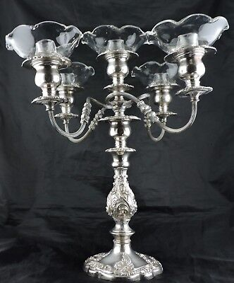 Antique Silver Plate & Glass 5 Arm Candelabra Centerpiece Epergne Candlestick