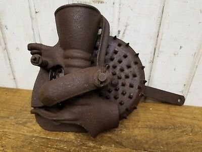 Antique Hand Crank Cast Iron Corn Sheller ~ Old Vintage Farm Tool Hit Miss