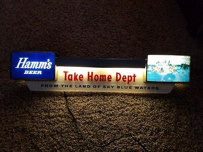 """Hamms Beer Lighted Sign """"take Home Dept"""" With Lake Scene"""