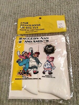 Vintage Raggedy Ann & Andy 2 Pair of Infant Socks Bobbs Merrill 1974