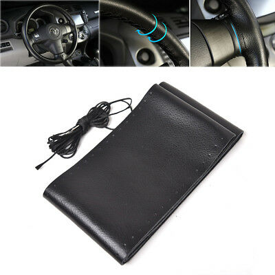 """DIY Sewing Leather 15"""" 38cm Car Auto Steering Wheel Cover Needles Black Thread"""