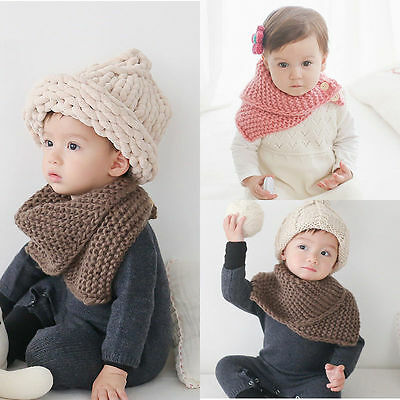 Boys Girls Toddlers Kids Neck Shawl Wrap Buckle Snood Scarf Knitted Winter Warm