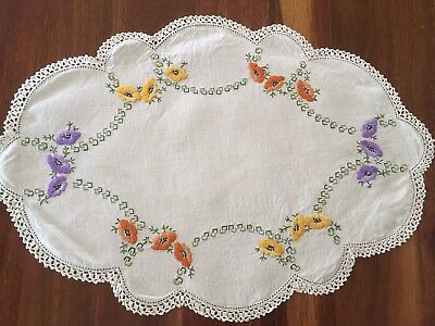 Large vintage linen embroidered Floral Poppies? Centrepiece Doily VGC