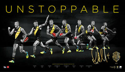 2017 Brownlow Medal Dustin Martin Signed AFL Richmond Print Only Unstoppable