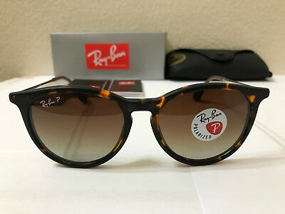 AUTHENTIC Ray Ban Sunglasses Erika Polarized Matte Tortoise w/Brown Gradient 54M