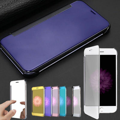 Mirror Clear View Window Smart Acrylic Flip Cover Case For iPhone X 8 7 6 Plus
