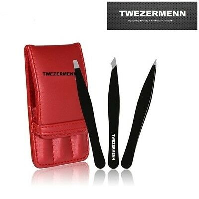 Twezermenn 3PCS Tweezers Set Red Leather Case - uk