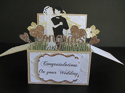 Handmade card, 3D Wedding Card in a box -Bride &Groom