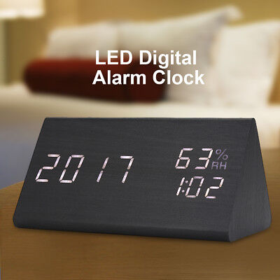 Triangle Desk Wooden Alarm Clock LED Digital Time/Temperature/Humidity Display T