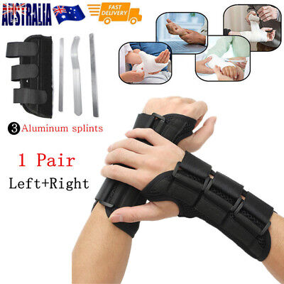 1 Pr Breathable Wrist Brace Support Carpal Tunnel Splint Sprain Protector L Size
