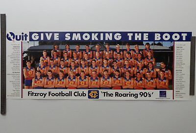 Genuine 1990 AFL Fitzroy Football Club team poster rare immaculate Paul Roos