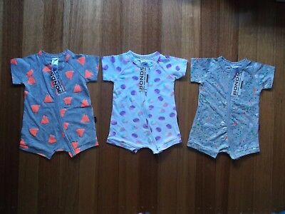 NEW WITH TAGS! BONDS Baby Girls Romper Wondersuits x3 Size 0 Total RRP$68.85