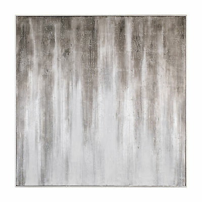 TEXTURED ABSTRACT BROWN White Beige Painting Large Wall Art Silver ...