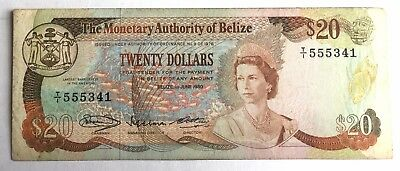 Belize $20  Bill 1980 T/1 555341