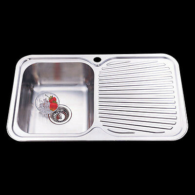 Drop In Topmount Stainless Steel Single Bowl with Drainer Kitchen Sink 780x480