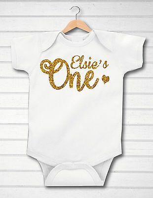 Personalised Glitter First 1st Birthday ONE Baby Girl/Boy Grow Vest Free P&P