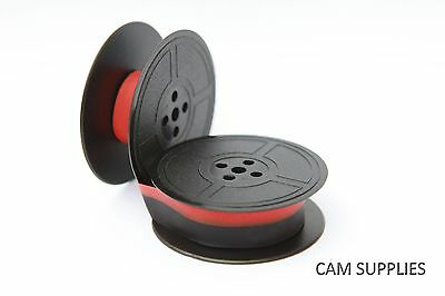 Compatible Typewriter Ribbon Fits Brother 215 Black Black/Red Twin Spools