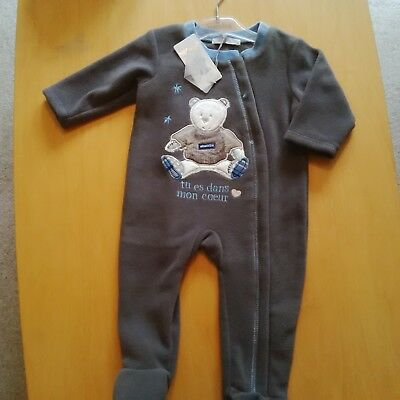 Absorba Baby boys soft fleece sleep suit in brown with a teddy on age 3/6 months