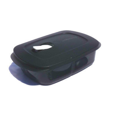 Tupperware NEW Rock n Serve Heat Eat Divided Rectangle Black Vent Microwave