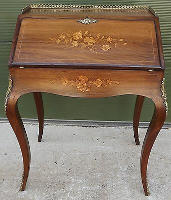 Antique Style Inlaid Marquetry Rosewood Bureau Desk French Louis Xiv Style