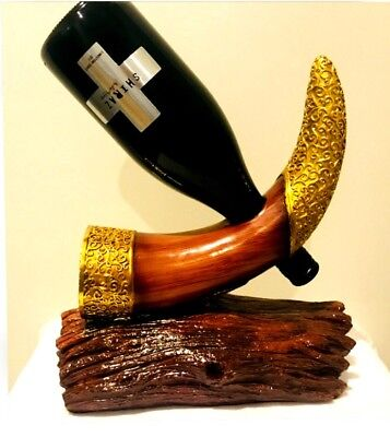 Rhino Horn Vertical Wine Holder Made of Resin Sculpture Crafts Home Bar/Showcase