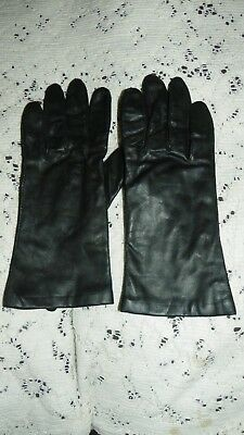 Womens Fownes Genuine Leather 100% Cashmere Lining Black Gloves Size L
