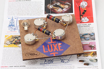 "Prewired Assembly fits Gibson® Les Paul Luxe 56-60' BBs/CTS Longshaft ""TVT"" Pots"