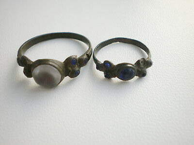 Two Rare Ancient Antique White Blue Glass Stones RINGS 18 - 19 century AD