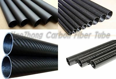 3k Carbon Fiber Tube 5mm 6mm 7mm 8mm 9mm 10mm (Roll Wrapped) X 500mm 1pc-10pc IE
