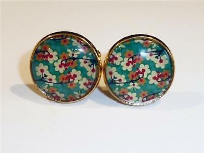 Gold Plated Cufflinks - Floral Design - Gift Bag- Free Uk P&p.......w1296