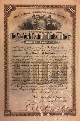 1892 NY Central & Hudson River Railroad $500 Extended Debt Bond Certificate