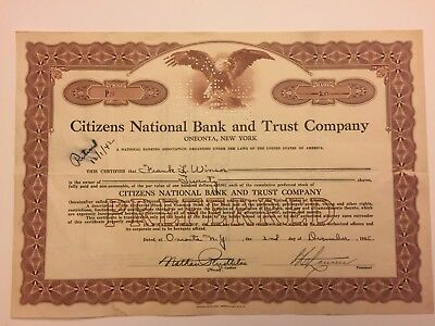 1935 Citizens National Bank & Trust Co Stock Certificate Low #9 RARE Oneonta, NY